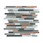 Glass & Stone Mosaic - Ceramic Tileworks - Bliss Glass & Stone Mosaic Tile - Random Smoky Mice