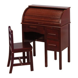 "Guidecraft - Jr Roll-Top Desk (Espresso) (36""H x 27""W x 14""D) - Desk features a lap drawer, a pull-out writing board and two file drawers. The roll top interior has multiple storage compartments, pigeon holes and a pencil drawer. Chair included."