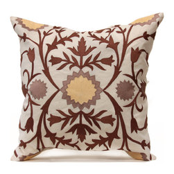 Ali Baba's Garden Pillow - Ivory/Gray/Ochre - Arabesque abstraction meets traditional dramatic florals, coalescing into the luxurious details of this versatile hand-embroidered linen cushion.  The square toss pillow has a stylized central floral or sun motif surrounded by slender swaying branches and symmetrical flowers in deep, rich brown.  A superb addition to a traditional room or an elegant hint of worldly tastes for a more modern one, Ali Baba's Garden is made of natural linen with a hidden bottom zipper and genuine feather insert.