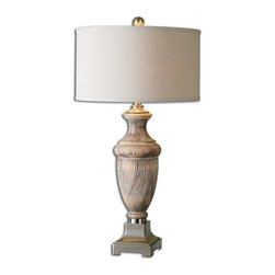 Uttermost - Uttermost 27745-1  Cabrini Solid Wood Table Lamp - Solid wood base with burnished accents and brushed nickel plated details. the round hardback drum shade is a light beige linen fabric.