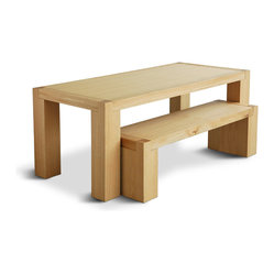 Gus Modern Chunk Dining Table, Natural Oak