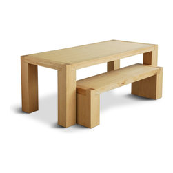 Gus Modern - Gus Modern Chunk Dining Table, Natural Oak - If you've got an eye for sturdy simplicity, this is your ideal dining table. It's crafted from stately white oak, with a 3-inch thick top and chunky legs. Consider it with the complementary bench, as shown.