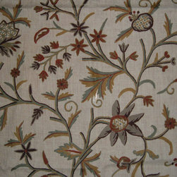 Crewel Fabric World by MDS - Crewel Fabric ChickPea Flower Natural White Jute - Artisans in a remote mountain village in Kashmir crewel stitch these blossoms, vines and leaves by hand, resulting in a lush pattern of richly shaded wool yarns on Linen, Cotton, Velvet and Silk.
