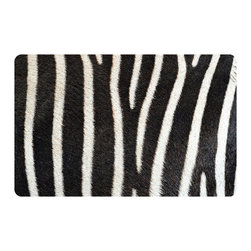 Bungalow Flooring - Fo Flor 2'x3' Animal Print Mat, Zebra - Woven polyester face captures colors and graphics in near photographic quality.