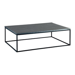 Kathy Kuo Home - Deon Industrial Style Pattern Metal Rectangle Coffee Table - Clean lines and angles with an open base make a sleek, modern coffee table for your industrial loft. Ample surface area offers space for books, vases and other displays. A geometric pattern creates movement across the polished metal top.