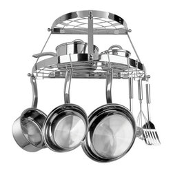 Range Kleen - Stainless Steel Double Shelf Wall Hanging Pot - Wall hanging pot rack. Made from stainless steel. Half-round pot rack. 24 in. W x 11.88 in. D x 12 in. H. 8 pot hooks. Cookware not included. Mounting hardware included for easy installation. Exclusive double shelf design is great for those consumers with little to no space. Great for condos and apartments. Holds up to 30 lbs.. Five year limited household warrantyJust think of how useful all of that extra cupboard space will be! Pot racks are so hot right now because they are the perfect solution for kitchen decor and storage. Hanging pots and utensils are better organized and easier to access – no more digging through the back of your cupboard.  This attractive stainless steel pot rack is wall mounted with two shelves and repositionable hooks to stylishly maximize your kitchen space.