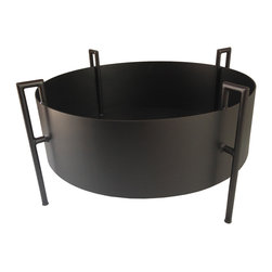 Haskell - Daze Fire Ring - Here's a ring of fire you don't want to fall into — but you will definitely fall for. Steel is sculpted into a modern cylinder shape with four supporting tubular legs and finished in a thermal ceramic coating in basic black. Add some burning love to your backyard or patio.