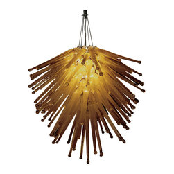 Trend Lighting - Cassini Chandelier - With golden brown glass tentacles, this unique chandelier shines like a beautiful sea urchin glowing in the air. More than a chandelier, this stunning light fixture is a piece of art that will transform your dining room, entryway, or any other space you want a wow factor. Available in amber and clear icicle glass, for a warm or cool effect.