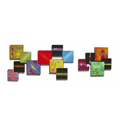 Alisa Diva - Artful Squares Abstract Two-Piece Wooden Wall Sculpture - Can't decide on colors for your room? It doesn't matter, even if you change in the future, this Artful Squares Abstract Two-Piece Wooden Wall Sculpture will blend with any color with its multicolored squares. These two pieces will cover three feet in length (or stack for more depth). The custom-made piece will customize your room and radiate good taste with each color. It is so abstract and so personal for the contemporary home. It is an investment in contemporary style and you will own the concept…or it will own you. Be brave, order today.