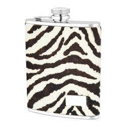 """Wilouby - Zebra Flask - This funky flask offers a stylish container for a drink when on the go. Over a stainless steel interior, black and white zebra print leather lends textured intrigue. 5""""W x 0.75""""D x 3.6""""H; Removable, twist-off top; Holds 6 oz; Clean flask with water before and after each use. Air dry."""