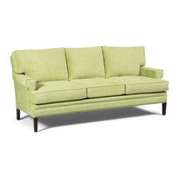 """BKind3 by Lazar - Flagler Fabric Sofa - Flagler- Simple and comfortable. Sometimes that is all that is required in a sofa. Ideal for smaller spaces. The soft seat and back cushions contain a portion of a soy-based polyol in order to protect our environment. The fabric is soft Oeko-Tex 100 Standard which is tested for human ecology. Features: -Contemporary style with mid-century modern flair.-Fabric content: 100% Nylon.-Seating comfort: Medium.-Cushion composition: Soy based upholstery foam.-Clean code WS.-Made in the USA.-Upholstered in Oeko-Tex 100 standard fabric.-Engineered plywood frame.-No-sag spring construction.-Leg / base finish: Medium walnut.-Flagler Collection.-Collection: Flagler.-Distressed: No.-Country of Manufacture: United States.Dimensions: -Seat dimensions: 20"""" H x 69"""" W x 21"""" D.-Overall dimensions: 36"""" H x 80"""" W x 37"""" D.-Overall Product Weight: 115 lbs."""
