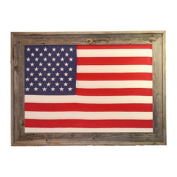 Texas Crazy - Rustic Framed 2 x 3 Foot US Flag - Show your pride in the US with this large 2 x 3 foot framed American flag for your rustic western home or office décor. These framed 50 star American flags are handmade in the USA. Each Americana framed art cotton flag is hand stretched and mounted in natural distressed barnwood. This patriotic flag wall art frame measures 28 x 38 inches overall.