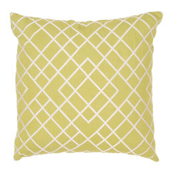 Jaipur Rugs - Handmade Cotton Green/Ivory/White (20''x20'') Pillow - Modena is a cotton based pillow embroidered with geometric designs.  Add to a  bed or side chair for a great accent.