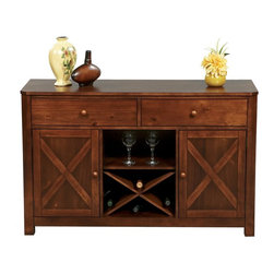 Winners Only - Franklin 52 in. Dining Server Multicolor - DFD470B - Shop for Buffets and Side Boards from Hayneedle.com! Farmhouse charm and updated storage features make the Franklin 52 in. Dining Server perfect for your dining room. Well-made of solid hardwood and acacia veneers in a Dark Oak finish. Two spacious drawers are felt-lined to protect items within. Twin wood framed cupboard doors are accented with barn door X detailing and hide a removable shelf behind each. The removable open shelf and wine rack keep glassware bottles and more at the ready.Product Dimensions:Inside drawers: 21W x 12.75D x 3.75H in.Behind left/right doors: 14.75W x 17D x 20.25H in.Open area with wine rack adjustable shelf removed: 16W x 17D x 20H in.About Winners Only Inc.Founded in 1988 Winners Only Inc. has been dedicated to quality for well over 20 years. They are an industry leader in manufacturing and distributing quality furniture with great value. Winners Only is based in Vista California. They craft each collection with a focus on beauty durability and lasting finishes. The quality of their bedroom dining home entertainment and office furniture is unparalleled and designed to fit your style.