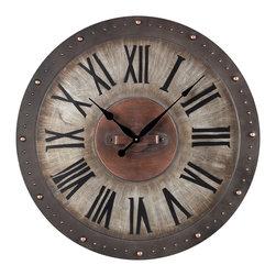 Bronze Metal Roman Numeral Outdoor Wall Clock - *Dimensions: 2L x 31W x 31H