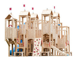 CedarWorks - CedarWorks Frolic 13 Swingset - A magic kingdom in my own backyard, really? Yes, Frolic can. We really let our imagination run wild on this design and came up with a structure with more nooks and crannies than Windsor Castle. It has slides, walls, ramps, lookouts and even a courtyard with a rope 'n bucket to hoist up your favorite treasures.
