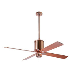 """Period Arts - Contemporary 52"""" Industry Polished Copper Ceiling Fan - The Industrial Age at the turn of the 20th Century gave us pragmatic design with function expressing itself as form. The Industry fan embodies the no-frills attitude of the movement. Although authentic in design and appearance this fan offers modern motor design electronic controls and a lifetime motor warranty. It features a polished copper finish motor with mahogany finish blades. From the Period Arts Fan Company. Polished copper finish motor. Four mahogany finish blades. Lifetime manufacturer motor warranty. Includes wall control. Overall height 17"""" to 24"""". Includes 2"""" and 9"""" downrods. Canopy 5 1/4"""" wide. 52"""" blade span.  Polished copper finish motor.   Four mahogany finish blades.   Lifetime manufacturer motor warranty.   Includes 4-speed fan only wall control.   Overall height 17"""" to 24"""".   52"""" blade span.  Includes 2"""" and 9"""" downrods.   Canopy 5 1/4"""" wide."""