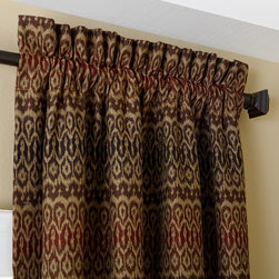 Blinds.com Easy Drapery Panels in Rod Pocket Ikat Horizontal Stripe Tiki - Redefine elegance with designer drapery panels from Blinds.com. Curtains are custom made to your window measurements for a perfect fit. Choose from hundreds of custom combinations with fabric, pleat styles and hardware to fit any style of decor.