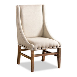 Interlude Home - Paris Linen Chair - The City of Lights has a reputation for elegance and romance, and it's not hard to see why this chair got its name. The contrast between the lovely linen and the wonderful wood is only enhanced by the nailhead trim, making this chair an exquisite choice for your home.