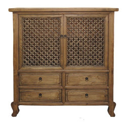 Golden Lotus - Chinese Antique Natural Wood Four Drawers See Through Carving Cabinet - This is a Chinese antique natural wood cabinet which is made of solid elm wood.  Especially, the doors come carving see through design on it.