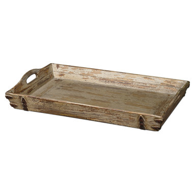 Uttermost - Abila Wooden Tray - Serve up some rustic charm with this wonderful wooden tray. Cutout handles make it completely functional, but it's also attractive enough to just be used for decorative purposes.