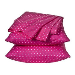 Xhilaration Dot Sheet Set, Pink - Pink with white polka dot sheets. These come in queen size and I bought them for my daughter's bed. They are darling and affordable!