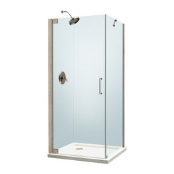 """BathAuthority LLC dba Dreamline - Elegance Frameless Pivot Shower Enclosure, 30"""" D x 34"""" W x 72"""" H, Chrome - The Elegance shower enclosure combines clean minimal styling with exceptional quality. Opulent 3/8 in. thick tempered glass and a fluid frameless design create a prefect mix of strength and beauty. The corner installation maximizes space and becomes the heart of a bathroom design, while minimal hardware generates an open and airy appeal."""