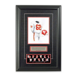 "Heritage Sports Art - Original art of the NFL 1962 Kansas City Chiefs uniform - This beautifully framed piece features an original piece of watercolor artwork glass-framed in an attractive two inch wide black resin frame with a double mat. The outer dimensions of the framed piece are approximately 17"" wide x 24.5"" high, although the exact size will vary according to the size of the original piece of art. At the core of the framed piece is the actual piece of original artwork as painted by the artist on textured 100% rag, water-marked watercolor paper. In many cases the original artwork has handwritten notes in pencil from the artist. Simply put, this is beautiful, one-of-a-kind artwork. The outer mat is a rich textured black acid-free mat with a decorative inset white v-groove, while the inner mat is a complimentary colored acid-free mat reflecting one of the team's primary colors. The image of this framed piece shows the mat color that we use (Red). Beneath the artwork is a silver plate with black text describing the original artwork. The text for this piece will read: This original, one-of-a-kind watercolor painting of the 1962 Dallas Texans (now Kansas City Chiefs) uniform is the original artwork that was used in the creation of this Kansas City Chiefs uniform evolution print and tens of thousands of other Kansas City Chiefs products that have been sold across North America. This original piece of art was painted by artist Nola McConnan for Maple Leaf Productions Ltd. Beneath the silver plate is a 3"" x 9"" reproduction of a well known, best-selling print that celebrates the history of the team. The print beautifully illustrates the chronological evolution of the team's uniform and shows you how the original art was used in the creation of this print. If you look closely, you will see that the print features the actual artwork being offered for sale. The piece is framed with an extremely high quality framing glass. We have used this glass style for many years with excellent results. We package every piece very carefully in a double layer of bubble wrap and a rigid double-wall cardboard package to avoid breakage at any point during the shipping process, but if damage does occur, we will gladly repair, replace or refund. Please note that all of our products come with a 90 day 100% satisfaction guarantee. Each framed piece also comes with a two page letter signed by Scott Sillcox describing the history behind the art. If there was an extra-special story about your piece of art, that story will be included in the letter. When you receive your framed piece, you should find the letter lightly attached to the front of the framed piece. If you have any questions, at any time, about the actual artwork or about any of the artist's handwritten notes on the artwork, I would love to tell you about them. After placing your order, please click the ""Contact Seller"" button to message me and I will tell you everything I can about your original piece of art. The artists and I spent well over ten years of our lives creating these pieces of original artwork, and in many cases there are stories I can tell you about your actual piece of artwork that might add an extra element of interest in your one-of-a-kind purchase."