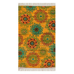 """Loloi Rugs - Loloi Rugs Aria Collection - Yellow / Orange, 1'-8"""" x 3' - Expressive and relaxed, stylish and fun. The Aria Collection from India has it all. Pretty paisley patterns, flourishing flowers, dreamy damasks and magical medallion designs are printed onto 100% recycled cotton Chindi for scatter rugs that are flirty and fashionable. Dressed in a palette of bold, saturated colors that take you from cool blues and pinks to warm spice tones and modern tropical hues, too, Aria rugs come in select scatter sizes that will accent choice spaces with flair."""