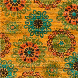 "Loloi Rugs - Loloi Rugs Aria Collection - Yellow / Orange, 1'-8"" x 3' - Expressive and relaxed, stylish and fun. The Aria Collection from India has it all. Pretty paisley patterns, flourishing flowers, dreamy damasks and magical medallion designs are printed onto 100% recycled cotton Chindi for scatter rugs that are flirty and fashionable. Dressed in a palette of bold, saturated colors that take you from cool blues and pinks to warm spice tones and modern tropical hues, too, Aria rugs come in select scatter sizes that will accent choice spaces with flair."