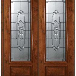 """Pre-hung Double Door 96 Wood Alder Kensington 1 Panel 3/4 Lite Glass - SKU#E18562-G-DE834K2BrandGlassCraftDoor TypeExteriorManufacturer Collection3/4 Lite Entry DoorsDoor ModelKensingtonDoor MaterialWoodWoodgrainKnotty AlderVeneerPrice5255Door Size Options  +$percentCore TypeDoor StyleDoor Lite Style3/4 LiteDoor Panel Style1 PanelHome Style MatchingDoor ConstructionEstanciaPrehanging OptionsPrehungPrehung ConfigurationDouble DoorDoor Thickness (Inches)1.75Glass Thickness (Inches)Glass TypeTriple GlazedGlass CamingSatin NickelGlass FeaturesTempered , BeveledGlass StyleGlass TextureGlass ObscurityDoor FeaturesDoor ApprovalsWind-load Rated , SFI , TCEQ , AMD , NFRC-IG , IRC , NFRC-Safety GlassDoor FinishesDoor AccessoriesWeight (lbs)719Crating Size25"""" (w)x 108"""" (l)x 52"""" (h)Lead TimeSlab Doors: 7 Business DaysPrehung:14 Business DaysPrefinished, PreHung:21 Business DaysWarrantyOne (1) year limited warranty for all unfinished wood doorsOne (1) year limited warranty for all factory?finished wood doors"""