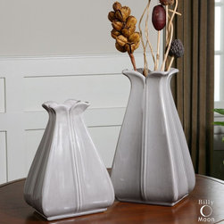"Uttermost - Florina Vases - Set of 2 - This Set Of Ceramic Vases Features A Glossy, Pale Gray Finish. Sizes: Sm-8x11x6, Lg-8x14x6. Uttermost's Accessories Combine Premium Quality Materials With Unique High-style Design. Overall Dimensions: 5.75""D x 7.5""W x 14""H"