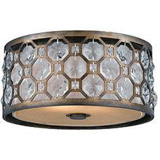 Mediterranean Flush-mount Ceiling Lighting Cartier 2-light Flushmount in Weathered Bronze | Overstock.com