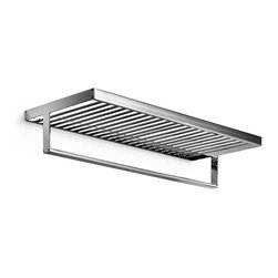 "WS Bath Collections - Skuara 23.6"" Bathroom Shelf - Skuara by WS Bath Collections Bathroom Shelf with Towel Bar in Polished Chrome, Solid Brass Base, Made in Italy"