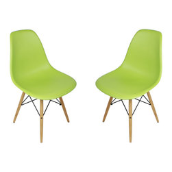 Ariel - Set of 2 Eames Style DSW Molded Lime Green Plastic Dining Shell Chair with Wood - Instantly turn your living quarters into a place for comfortable relaxation with this beautiful 2 dining chair set. Constructed of heavy duty polypropylene seats in matte finish, this stylish chair set is perfect for the home office, training room, or play area. Available in multiple colors.