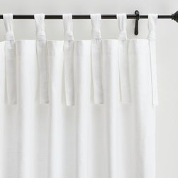 """Textured Cotton Tie-Top Drape, 50 x 108"""", White - Define your windows while filtering sunlight with our textured cotton drape. Tie the seven long ties for a relaxed look. 50"""" wide; available in four lengths Made of pure cotton. Hang ties at the top of the drape. Detailed with blind-stitched hems. Available individually. Watch a video on {{link path='/stylehouse/videos/videos/h2_v1_rel.html?cm_sp=Video_PIP-_-PBQUALITY-_-HANG_DRAPE' class='popup' width='420' height='300'}}how to hang a drape{{/link}}. Catalog / Internet Only. Imported. Dry Clean only."""