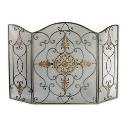 Uttermost - Uttermost 20508  Egan Wrought Iron Fireplace Screen - This attractive fireplace screen is made of wrought iron. the dark brown basecoat is covered with a semi-transparent dark gray wash and a tan glaze. the perfect finishing touch to a fireplace.