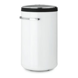 Vipp - Vipp Laundry Bin - The Vipp Laundry Bin (2008) is stylish enough to be left out in the open, embodying all the characteristics of the Vipp line of household products: handmade attention to detail, the highest quality components available and a form dictated by its essential function. Vipp was launched in 1938 when Holger Nielsen designed and manufactured a garbage bin for his wife's hair salon. Now at the helm of this family-run business is Nielsen's daughter, Jette Egelund. The Vipp logo is engraved on the stainless steel handle, verifying its authenticity. Made in Denmark. Perforated top for ventilation.  A simple lever opens and closes the lid. A removable, machine-washable inner liner makes it easy to transport clothes from bin to washer. Hidden casters on the underside let it roll easily from room to room.