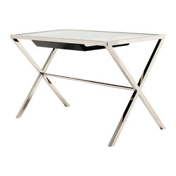 Nuevo Living - Trevor Desk - Incorporate a workstation that's simple, elegant and sure to inspire you to feats of genius. This pristine desk weds polished stainless steel to thick tempered glass and includes a non-intrusive storage drawer.