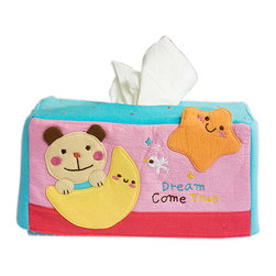 Blancho Bedding - Bear & MoonEmbroidered Applique Fabric Art Tissue Box Cover Holder 8.7*4.5*4.5 - Aesthetics and Functionality Combined. This lovely fabric art Tissue Box Cover features a fully embroidered and hand-appliqued design with lovely characters and patterns. Measures 8.7 inches wide x 4.5 inches high x 4.5 inches deep. The lovely design enlivens your home and office decor! It is made of 100% quality crushed, wrinkled look cotton fabrics. Soft and comfortable! Decorate your dresser, bathroom, or coffee table with this lovely handmade felt Fabric Tissue Box Cover. Its keeps tissues easy to reach, perfect for everyday use! One size fits most! This multi purpose embroidered applique tissue box cover is a must-have accessory for your home decoration. Tissue box not included!