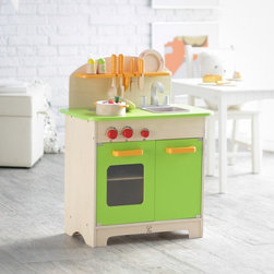 HaPe - Hape Gourmet Chef Kitchen with Accessories Multicolor - ED821521 - Shop for Cooking and Housekeeping from Hayneedle.com! This play kitchen includes everything your child needs short of formal culinary training for safe realistic kitchen play. All the food utensil and cookware accessories you see pictured are included with this set so kids will never be short of creative menu options. Painted in bright natural colors perfect for a modern play kitchen this wooden kitchenette is fully equipped for your young chef. With a two-burner play stove oven and cupboard with working doors play sink turnable knobs and utensil racks this set fosters real-life play and imagination that mere pretending doesn't quite match. All accessories have smooth rounded edges to keep your children safe while playing. Included accessories: Stock pot with lid Skillet Serving plate Cutting board Safe wooden kitchen utensils Pretend food items including vegetables pizza toast and more Salt and pepper shakers About EducoSince 1983 Educo toys have earned international distinction for durability quality craftsmanship educational value and innovative design. Widely known for their bead-and-wire mazes Educo also offers a variety of high-quality educational toys including wirewalkers and durable role-play sets. While Educo mazes are a common toy for homes virtually every maze has also been used in resource centers classrooms clinics and private settings as therapeutic and rehabilitation aids for children and adults who are physically mentally or emotionally-challenged. With nearly 25 years of expertise Educo continues to produce quality safety-tested educational toys that promote creativity in children at play.