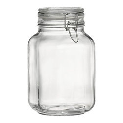 Fido 2-Liter Jar with Clamp Lid - Italian storage jars are stylish with large openings for easy access. Lids clamp down on foods with vulcanized rubber gaskets for an airtight seal.