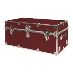Rhino - Rhino Armor Storage Trunk in Wine (Small) - Choose Size: SmallTwo nickel plated steel universal wheel adapter plates mounted on the side of the trunk. Laminated armor exterior. Strong hand-crafted construction using both old world trunkmaking skills and advanced aviation rivet technology. Steel and aluminum aircraft rivets used to ensure durability. Heavy duty proprietary nickel plated steel hardware. Steel lid hinges and steel lid stay for keeping the lid propped open. Tight fitting steel tongue and groove lid to base closure to keep out moisture, dirt, insects and odors. Stylish lockable nickel plated steel trunk lock. Loop for attaching a padlock. Genuine leather handles. American craftsmanship. Self-sticking adhesive on the back of the name plate. Upper or lower case lettering. Lettering is in black. The name plate can take 24 characters per line. The max number of lines is 2. Warranty: Lifetime warranty includes free non-cosmetic repairs for the life of the trunk. Made from smooth 0.38 in. premium grade baltic birch hardwood plywood. No paper or plastic lining anywhere avoiding peeling or tearing. Name plate made from plastic. No assembly required. Cube: 20 in. W x 18 in. D x 18 in. H (22 lbs.). Small: 30 in. W x 16 in. D x 12.5 in. H (24 lbs.). Medium: 30 in. W x 16 in. D x 16 in. H (26 lbs.). Large: 32 in. W x 18 in. D x 14 in. H (27 lbs.). Extra Large: 34 in. W x 20 in. D x 15 in. H (32 lbs.). Extra Extra Large: 36 in. W x 18 in. D x 18 in. H (36 lbs.). Jumbo: 40 in. W x 22 in. D x 20 in. H (52 lbs.). Super Jumbo: 44 in. W x 24 in. D x 22 in. H (69 lbs.). Name Plate: 3 in. L x 1 in. H (0.5 lbs.)The hand-crafted American Made Rhino Armor Cube is constructed from the highest quality components. Rhino Armor is an exterior 1000d Cordura Nylon textured sheathing that's highly resistant to water penetration, denting and scratching. The Rhino Armor Cube is conveniently sized and ruggedly built. In fact, its strong enough to stand on ! The Rhino Armor Cube is easily stowed and can be securely locked to insure the safety of personal items. The Rhino Armor Cordura sheathing ensures that Rhino Armor Cubes have the most durable exterior available in the trunk industry. Rhinos brushed bright metal finish name plates are a great addition to any Rhino Trunk. Most people put their full name on, but its your choice. You can have your name on one or two lines. You can place the name plate anywhere you like on the Rhino Trunk.