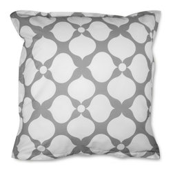 "Jonathan Adler - Jonathan Adler Hollywood Grey Euro Pillow Sham Pair - contemporary approach to Hollywood Regency style, this grey euro sham set showcases a mod white floral print for just the right amount of dramatic contrast. This graphic glam bedding design lives up to the ""happy chic"" vibe of the Jonathan Adler tradition. 28"" x 28""; Sold as a pair; 100% cotton percale, 400-thread count; Insert not included; Machine wash; Matching duvet and coordinating sheet set available separately"