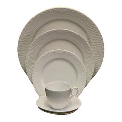 Royal Copenhagen - Royal Copenhagen White Half Lace 5-Piece Place Setting - Royal Copenhagen White Half Lace 5-Piece Place Setting