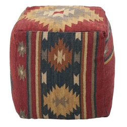 Surya - Earthy Kilim Poufs in Various Colors by Surya - Tightly stuffed and beautifully patterned, these kilim poufs with warm earth tones provide a sturdy place to put your feet on. They can also serve as additional seating around a cocktail table. Offered in four patterns with varying colors. (SUR)
