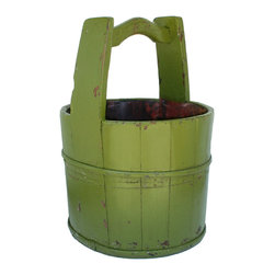 Antique Revival - Green Crested-Handle Vintage Bucket - This vintage, wooden water bucket with a sturdy wooden handle is the perfect touch for any kitchen or patio. The distressed, earthy green finish and iron banding adds a country, rustic vibe. The bucket looks great on its own, or can be used to display flowers. Each item is unique and one-of-a-kind and dimensions/features may slightly vary.