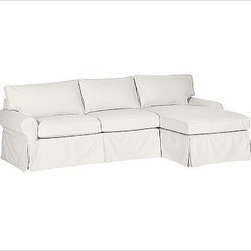 """PB Basic Left 2-Piece with Chaise Sectional Slipcover, Twill White - Designed exclusively for our PB Basic Sectional, these easy-care slipcovers have a casual drape, retain their smooth fit, and remove easily for cleaning. Select """"Living Room"""" in our {{link path='http://potterybarn.icovia.com/icovia.aspx' class='popup' width='900' height='700'}}Room Planner{{/link}} to select a configuration that's ideal for your space. This item can also be customized with your choice of over {{link path='pages/popups/fab_leather_popup.html' class='popup' width='720' height='800'}}80 custom fabrics and colors{{/link}}. For details and pricing on custom fabrics, please call us at 1.800.840.3658 or click Live Help. All slipcover fabrics are hand selected for softness, quality and durability. {{link path='pages/popups/sectionalsheet.html' class='popup' width='720' height='800'}}Left-arm or right-arm configuration{{/link}} is determined by the location of the arm on the love seat as you face the piece. This is a special-order item and ships directly from the manufacturer. To view our order and return policy, click on the Shipping Info tab above."""