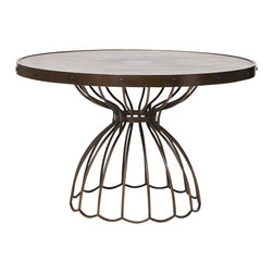 "Studio A - Florentine Round Dining Table - 48"" Dia. - Subtle gray-toned, pie-shaped marquetry forms the top of the Florentine Round Dining Table. A final matte topcoat gives it protection and added durability. The table top's metal rim and base are iron with an antique bronze finish."