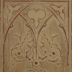 """Gothic Arch Tin Wall Plaque - 24""""x24"""" - This medium size plaque adds visual strength and drama to your walls decor. Sold individually, they are lovely hanging alone they but also work well for large spaces when grouped in differing patterns or finishes. Inspired by the artistic look of old-fashioned tin ceiling tiles, these pressed tin plaques are sure to be a focal point wherever they're displayed. Each plaque is crafted of real tin, and finished in your choice form a variety of available finishes. Use alone or in a gang of 4 for larger spaces."""